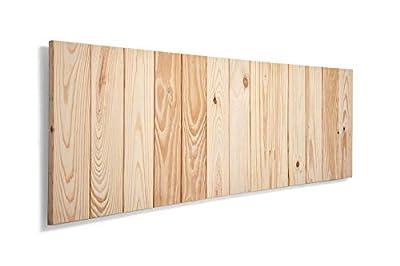 Cabeceros de madera para camas de 150, estilo nordico Cabeceros de lamas de madera de pino, con herrajes para anclar a la pared Cabezales de cama para dormitorios juveniles y de matrimonio Cabezal con estructura de tablas de madera de pino de alta ca...