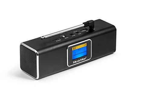 MusicMan 4663 DAB Bluetooth Soundstation BT-X29 mit intergriertem Akku und LCD Display (MP3 Player, Radio, MicroSD Kartenslot,USB Steckplatz) schwarz