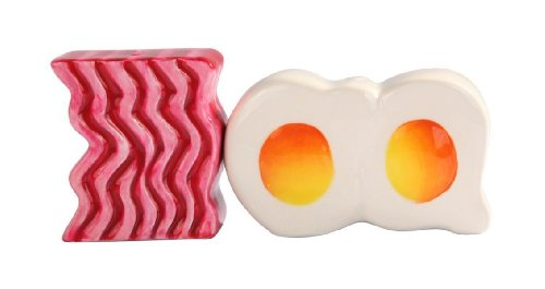 Magnetic Ceramic Salt Pepper Shakers Bacon and Egg Set, 4 Inches