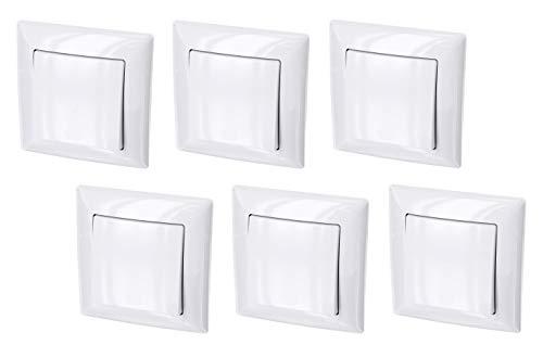 Pack de 6 interruptores de encendido/apagado - todo en uno - Marco + pieza empotrable + cubierta (Serie G1 blanco puro)