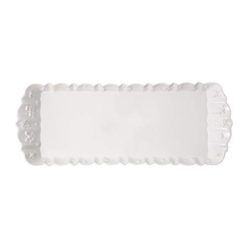 Villeroy & Boch - Toy's Delight Royal Classic Plat à gâteau rectangulaire, plat de service rectangulaire avec motif en relief, porcelaine premium, 40 x 16 cm, blanc