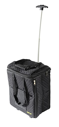 dbest products Smart Cart Expandable Tote Travelux Series, Black Premium Quilted Cart Weekender Bag Carry-on