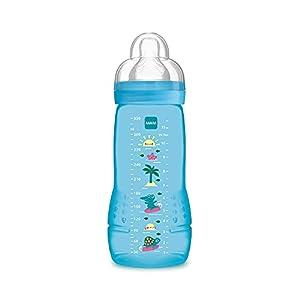 MAM Easy Active Baby Bottle, Biberón Grande de Aprendizaje Ergonómico Fácil de Agarrar, Tetina nº 3 de Silicona y Tapa Antigoteo, 4+ meses, Azul, 330 ml