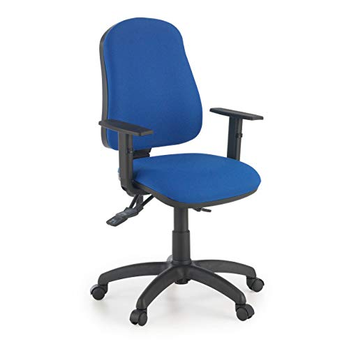 Ofiprix Silla Eco2 Silla Giratoria de Oficina Silla de Escritorio Tapizada Brazos Ajustables Color Azul
