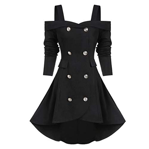 Xiangdanful Punk Damen Mantel | Zweireihige Trenchcoat Gothic Jacke Kleid Schulterfreie Smoking-Blazer Frauen Viktorianische Frack Holloween Party Cosplay Kostüm Outwear Wintermantel (XL, Schwarz)