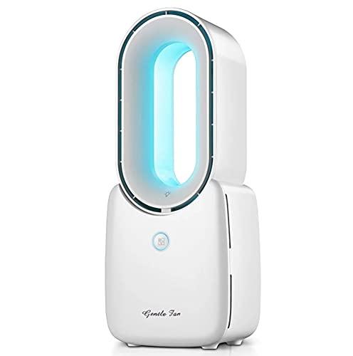 Ventilador de escritorio, ventilador de escritorio de ventilador inconsútil portátil de 12.8 pulgadas con 3 velocidades de enfriamiento y luces, USB RECARGABLE TOCK CONTROL BREEZE BASTE FAN PARA DORMI