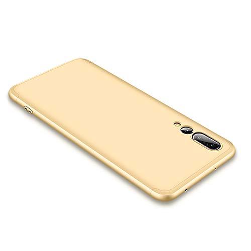 CLTPY Cover per Huawei P20, Elegante Sottile Huawei P20 Custodia [3 in 1] Completa 360 Gradi Antiurto Copertura Plastica Dura per Huawei P20 + 1 x Stilo Libero - Oro