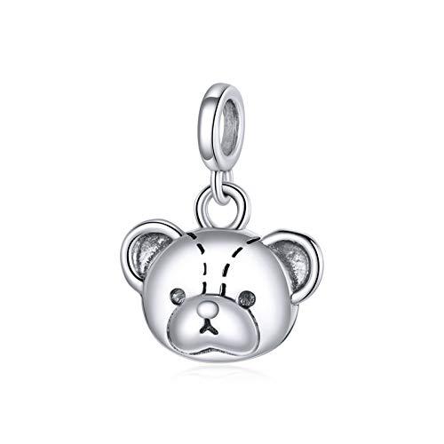 HMMJ Los amuletos de Plata esterlina S925 de la Mujer Colgan Perlas Lindos Oso Bricolaje a Mano de Moda Colgante Animal Salvaje Compatible con Pandora Troll chamilia Encanto Pulsera Collares