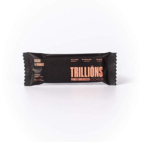 TRILLIONS | Barritas de proteinas con harina de grillo sabor Chocolate con Naranja | 100% Ingredientes naturales | Sin azucar añadida y sostenibles | 15 x 45gr - Barritas energeticas 🔥
