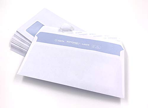 500 Briefumschläge mit Fenster, DIN lang = 220 x 110 mm, mit Laser bedruckbar, hitzefestes Folienfenster, Geschäftsumschläge, Fensterumschläge mit Abziehstreifen