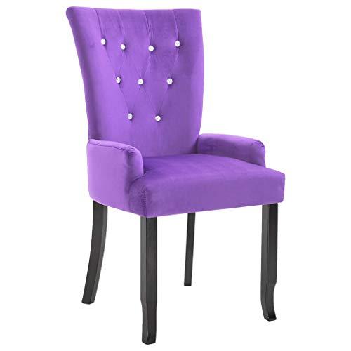 vidaXL Armsessel Sessel mit Holzrahmen Samt-Lila