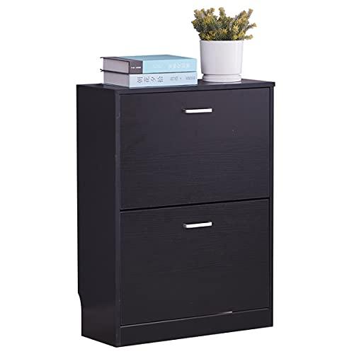 XPT eumallxpt Zapatero de madera de 2 niveles con organizador de almacenamiento de 2 cajones, color negro