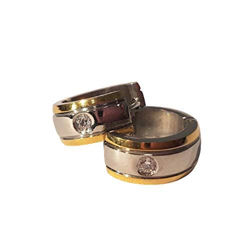 Bungsa Earrings gold silver-matt - Stainless Steel Huggies for Women