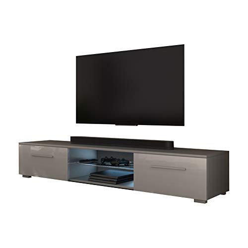 Selsey TV-Lowboard, Grau Matt/Grau Hochglanz mit LED, 140 x 40 x 36