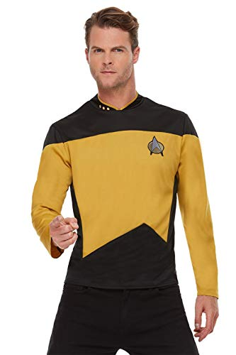 Smiffys 52446S Offiziell Lizenziertes Star Trek, The Next Generation Operations Uniform, Erwachsene, gelb, S - UK Size 34