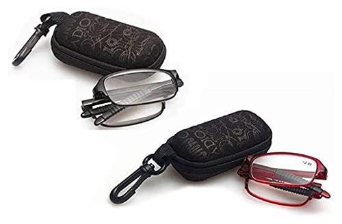 Gafas de lectura Compacto Mini TR90 bolsillo plegable gafas de lectura, 2 lectores Par manera con los casos los vidrios unisex de lectura for hombres y mujeres vasos ( Color : Black , Size : 2.0x )