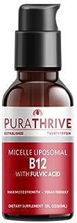 PuraTHRIVE Vitamin B12 Liquid Drops with Fulvic Acid. Liposomal B12 in Methycobalamin Form for Maximum Absorption and Potency. Vegan Friendly, GMO Free, Made in USA.