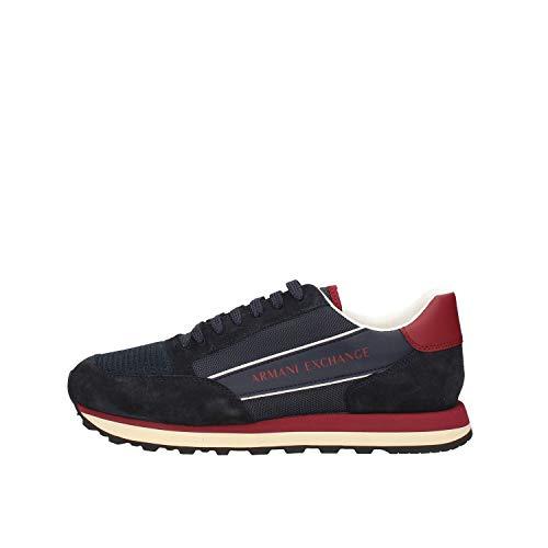 ARMANI EXCHANGE Suede Bicolor Sneakers, Scarpe da Ginnastica Uomo, Navy Bordeaux, 41 EU