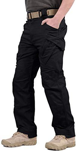 GooDoi Arbeitshosen Männer Military Pants Tactical Hose Arbeitshose für Mann Cargohose Männer Combat Outdoor-Hose für Camping Wandern (Schwarz-1, 32W / 41.7L)