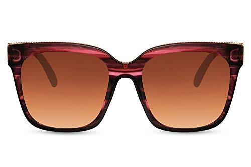 Cheapass Sunglasses - Gafas de sol para mujer, clásicas, de gran tamaño, con forma de mariposa, marco de rayas marrones lentes degradados marrones y pequeñas tachuelas de metal protección UV400