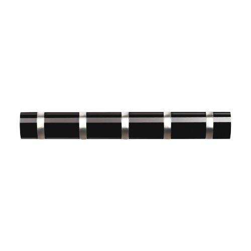 Umbra Flip 5 Garderobenhaken – Moderne, Schlichte und Platzsparende Garderobenleiste mit 5 Beweglichen Haken für Jacken, Mäntel, Schals, Handtaschen und Mehr, Hochglanz Schwarz