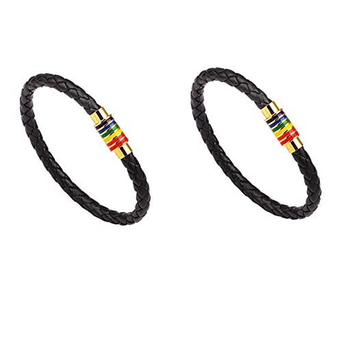Paquete de 2 pulseras de orgullo gay con arcoíris, pulseras de lesbianas gay de cuero trenzado para hombres, cierre magnético de arco iris (Hebilla amarilla negra)