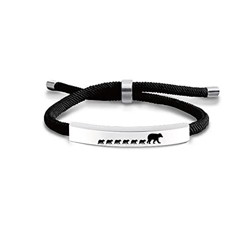 LiFashion Mama Bear Bracelet for Women,Stainless Steel Adjusted Cord Mama Bear with 1-6 Cubs Bar Bracelets for Mom from Daughter,Son