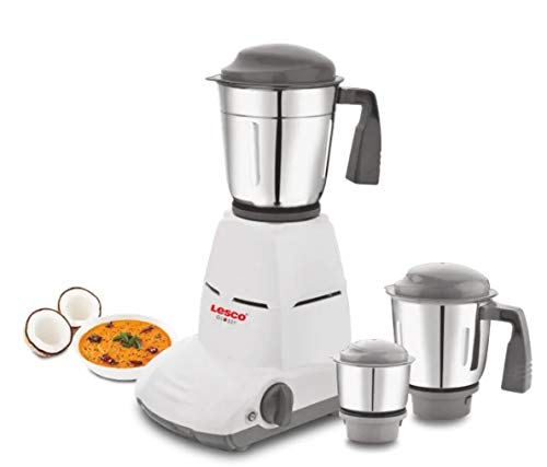 Lesco Glossy 550 Watts Mixer Grinder with 3 Jars Grey