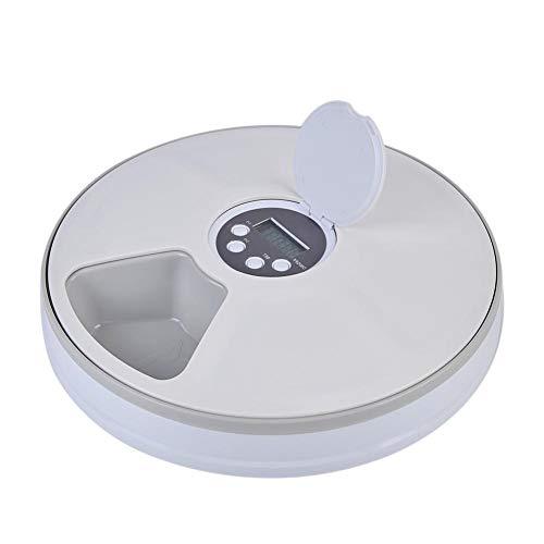 Kitabetty Automatic Pet Feeder, 6-Meal Timing Futterautomat für Katzen und Hunde - Funktionen Verteilungsalarme Timing-Gerät Musikalarm, für Kleintiere Trocken- und Nassfutterplatte