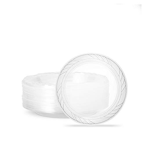 Plasticpro 6'' inch Premium Crystal Clear Disposable Plastic Dessert Size Party Plate Pack of 40