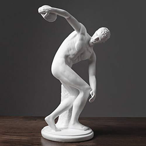 JYAcloth Klassisch Diskuswerfer Statue,Griechisch Römisch Athlet Skulptur Figur Abstrakte Charakter Harz Handwerk Antiken Abbildung Home Decor Büro Desktop Ornamente Weiß 30x22x30cm(12x9x12inch)