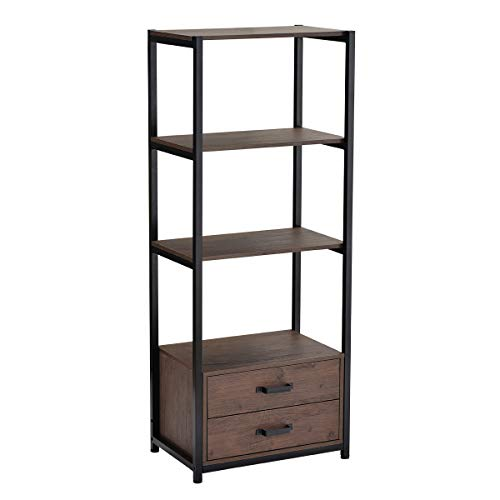 4-Tier Industrial Bookshelf 60 in Wooden Metal Bookcase with 2 Drawers and 3 Shelves, Freestanding Display Self for Home and Office, Brown and Black