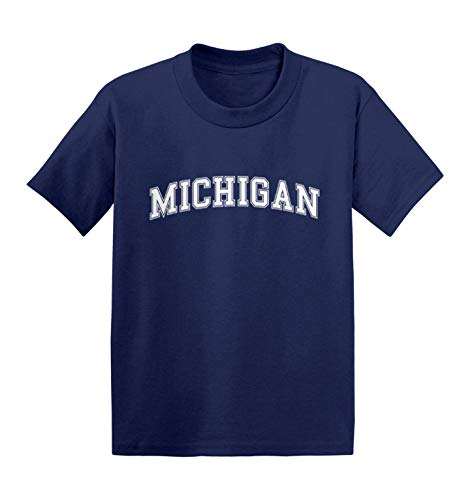 Haase Unlimited Michigan - State Proud Strong Pride Infant/Toddler Cotton Jersey T-Shirt (Navy, 5T)