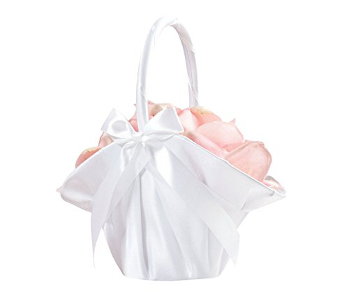 Lillian Rose Elegant Large Satin Flower Girl Basket White