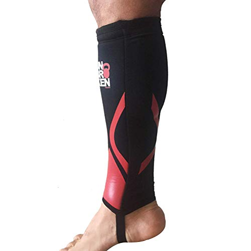 Cross Fitness Shin Guard and Calf Compression 7mm RED SHELL Sleeve Protector for Rope Climb, Box Jumps, Deadlift, Dry Fast, Fits Women and Men,Thick Neoprene, Black, Single (S/M)