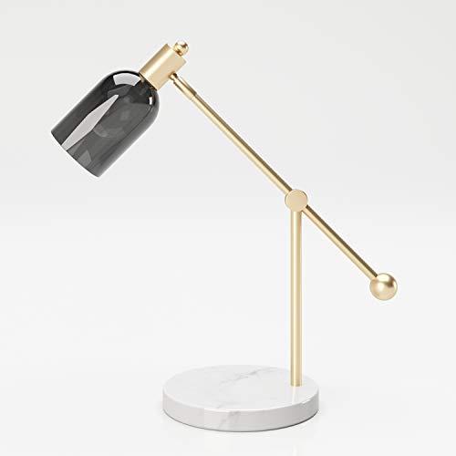PLAYBOY Tischlampe mit Mamorfuss, goldenem Ständer un grauem Lampenschirm aus Glas im Retro-Design, geeignet als Tisch- oder Dekolampe, Nachttischlampe, Schreibtischlampe, Marmor, Gold, Grau