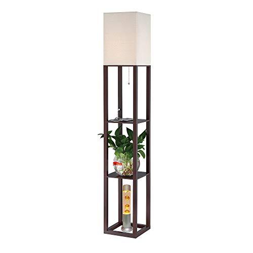 HomeFocus Shelf Floor Lamp Light with USB Charging Port,Display Shelves Floor Lamp Light,Living Room Floor Lamp Light,Bedroom Floor Lamp Light,White Burlap Shade,Walnut Brown