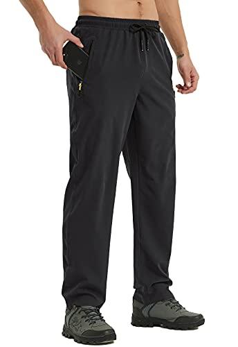 Osflydan Men s Workout Athletic Pants Elastic Waist Waterproof Lightweight Jogger Running Pants for Men with Zipper Pockets Black 34