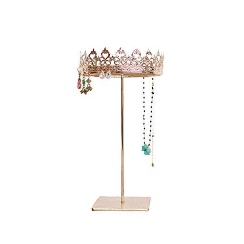 alyf Organizador de joyas Soporte de exhibición de joyas – Organizador de joyas en forma de corona de princesa Organizador Rack Retro Pendientes