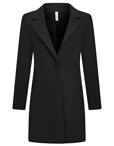 Zarlena Damen Mantel klassischer Female Trenchcoat Made in Italy Schwarz XL