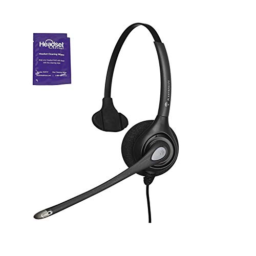 Plantronics HW251n Wired Office Headset Bundle With Headset Advisor Wipe (Renewed)