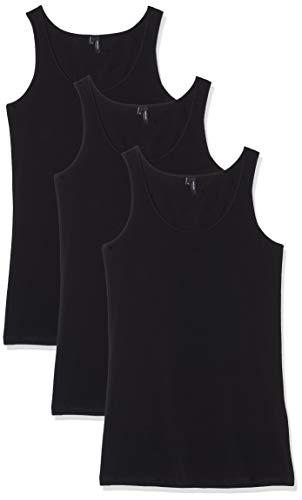 VERO MODA Damen VMMAXI My Soft Long Tank GA 3PACK Top, Schwarz (Black Pack: Black & Black), Medium (Herstellergröße: M) (3er
