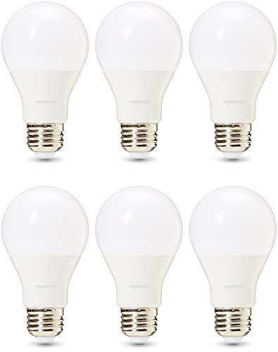 Amazon Basics Professional - Bombilla de tipo Edison LED, casquillo E27, equivalente a 60W, blanco frío, regulable - juego de 6