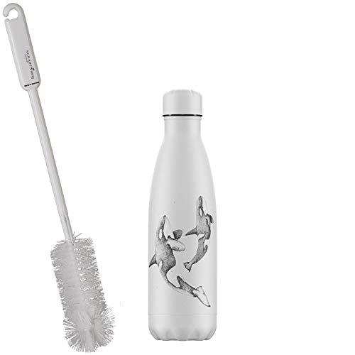 CHILLYs Trinkflasche & Isolierflasche 500ml Sea Life Orca Bottle - Edelstahl Thermos Wasserflasche - Flasche hält 24 Std. kalt & 12 Std. heiß + SCHARFsinnig Flaschenbürste