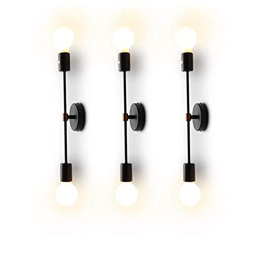 XIHOME Minimalista Nero 2 Luci LED Lampada da parete su giù per interni,180 ° regolabile, Rustico Paese Vintage Loft Applique da parete Apparecchio adatto Retro calde Edison E27 Max 2 * 60W