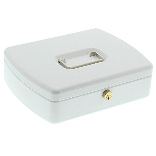 Burg-Wächter 2257 Geldkassette Office-Line, Weiß, Inkl. 2 Schlüssel und Hartgeldeinsatz