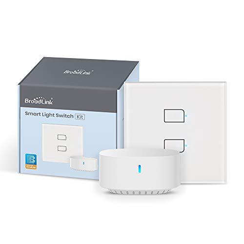 BroadLink - Smart Touch Wall Switch EU-Version, 2-Fach-Ein-Draht-Schalter, kein Neutralleiter oder Kondensator erforderlich, funktioniert mit Alexa und Google Home, Hub erforderlich