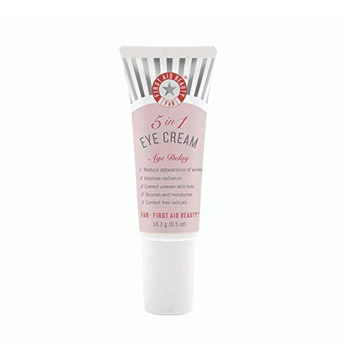 First Aid Beauty 5 in 1 Eye Cream: Muti Action Anti Aging Eye Cream for Dry Sensitive Skin. Perfect for All Skin Types. (0.5 Ounce)