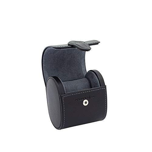Friedrich23 Uhrenetui - Uhrenrolle Infinity aus Echtleder in schwarz – Platz für 1 Uhr – Druckknopf und Uhrenkissen