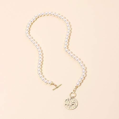 xMxDESiZ Colgante de Plata 925 Collares de Toggle de Perla Collares de Mujer Minimalista Redonda geométrica Letra Letra Choker Collier Collares Pendientes (Metal Color : Round)